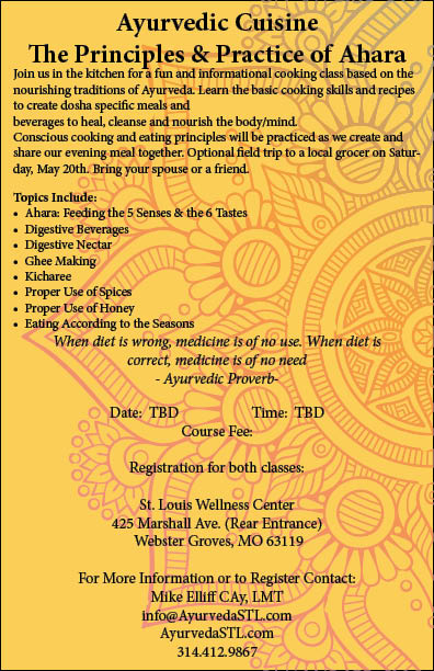 Ayurveda cuisine workshop information